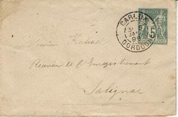 1899- Enveloppe Carte De Visite E P 5 C Groupe Oblit. De CARLUX ( Dordogne ) Pour Salignac - Postmark Collection (Covers)