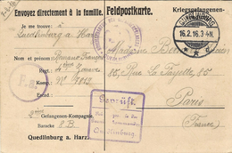 1916-French W P Feldpostkarte   From Quedlinburg A. Harz With Censur - Covers & Documents