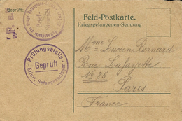 1915-   French  W P Feldpostkarte  From Erfurt   With Censur - Covers & Documents