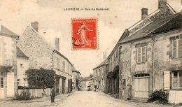 87. CPA.  LAURIERE.  Route De Bénévent, Commerce A La Ménagere. 1907. (abimée.) - Lauriere