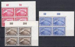 III. Reich: Chicago Fahrt MiNr. 496-498 Im ECKRAND Viererblock - Allemagne