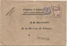 MOUCHON 30C VIOLET SEUL PAPIERS AFFAIRES AVEC ANNOTATIONS REC PARIS 28 DEC 1900   AU TARIF PEU COMMUN - Storia Postale