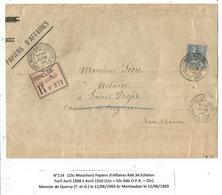 MOUCHON 25C  SEUL PAPIERS AFFAIRES REC  MONCLAR 11 JUIN 1903  AU TARIF 3EME  PEU COMMUN - Postmark Collection (Covers)