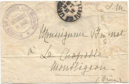 LETTRE FM LIMOGES HTE VIENNE 1915 + CACHET BLEU SOCIETE DE SECOURS AUX BLESSES INFIRMERIE DE GARE POUR ORNE - Marcofilie (Brieven)