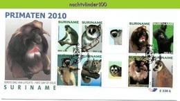 Nfm338A+BBPfb FAUNA AAP APEN ZOOGDIEREN GORILLA *GUTTERPAIR* LEMUR MONKEYS MAMMALS APES AFFEN SINGES SURINAME 2010 FDC's - Apen