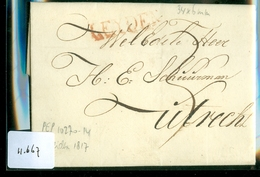 UIT 1817 POSTHISTORIE * VOORLOPER * HANDGESCHREVEN BRIEF LANGSTEMPEL LEYDEN Naar UTRECHT * ROOD LAKZEGEL (11.667) - ...-1852 Vorläufer
