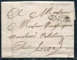 """SUISSE - LETTRE DE GENEVE DU 11/5/1759 POUR LYON AVEC TAXE """" 4 """" MANUSCRITE - TB - Suisse"""