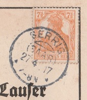 Deutsches Reich Karte Mit Tagesstempel Serrig Saar 1917 KOS Stempel - Covers & Documents