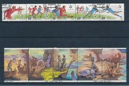 RUSSIE - 2 BANDES DE 5 TIMBRES OBLITERES - 1989/90 DONT FOOTBALL ITALIA 1990 - 1923-1991 UdSSR