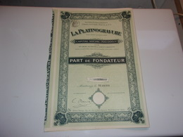 LA PLATINOGRAVURE (deplanche Falk) MONTROUGE (1914) - Azioni & Titoli