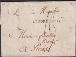 MARQUE POSTALE  MORBIHAN  LETTRE  AVEC GRIFFE LE PORT LOUIS  1787 SUP - 1701-1800: Précurseurs XVIII