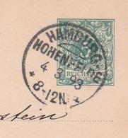 Deutsches Reich Karte Mit Tagesstempel Hamburg Hohenfelde 1893 KOS Stempel - Covers & Documents
