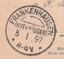 Deutsches Reich Karte Mit Tagesstempel Frankenhausen Kyffhäuser 1897 KOS Stempel - Covers & Documents