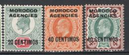 Marocco 1907 Y.T.26,28,28A */MH VF/F - Morocco Agencies / Tangier (...-1958)