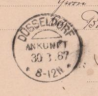 Deutsches Reich Karte Mit Tagesstempel Düsseldorf Ankunft 1887 KOS Stempel Innendienst - Covers & Documents