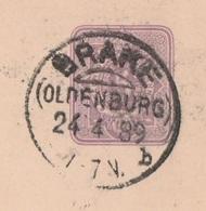 Deutsches Reich Karte Mit Tagesstempel Brake Oldenburg 1889 KOS Stempel - Covers & Documents