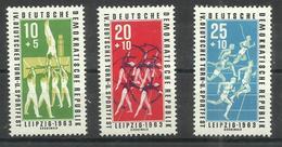 """DDR 963-965 """" 3 Briefmarken Zum Thema 10. Deutsches Turn U. Sportfest 1963, Satz Kpl."""" Postfrisch Mi 4,50 - [6] République Démocratique"""