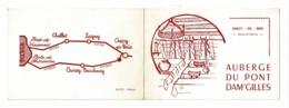 """Carte Double Illustrée Format 8 X 12 Cm """"Auberge Du Pont Dam'Gilles"""" Crecy En Brie (77) Hôtel-Restaurant M. Theuillon - Publicidad"""