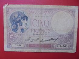 FRANCE 5 FRANCS 1933 CIRCULER (B.9) - 1871-1952 Anciens Francs Circulés Au XXème