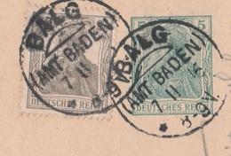 Deutsches Reich Karte Mit Tagesstempel Balg Amt Baden 1916 KOS Stempel - Covers & Documents