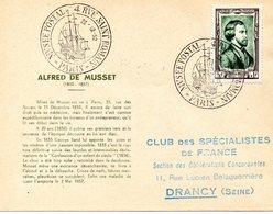 1952   Paris Alfred De Musset - FDC