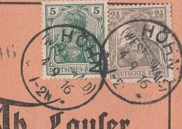 Deutsches Reich Karte Mit Tagesstempel Höhn Westerwald 1916 KOS Stempel - Covers & Documents