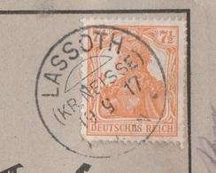 Deutsches Reich Karte Mit Tagesstempel Lassoth Kr Neisse 1917 KOS Stempel Schlesien - Covers & Documents