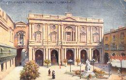 Malta Piazza Regina And Public Library Statue Postcard - Malta