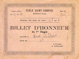 BILLET D'HONNEUR - Ecole St Gabriel - BAGNEUX - 1945/1946 - Diplomas Y Calificaciones Escolares
