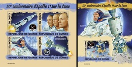 Guinea 2019, Space, Apollo 11, 4val In BF +BF - Afrika