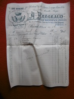 APERITIF BREGEAUD ABSINTHE CAVE BORDELAISE A BRIOUDE FACTURE 1907 - France