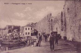 Rodi, Passeggiata Lungo Il Mare, Photo Of Old  Postcard, 2 Scans - Grecia