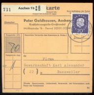 19607 BRD Paketkarte 70 Pfg Heuss Medaillon EF Aachen - Baesweiler 1961 - [7] Federal Republic