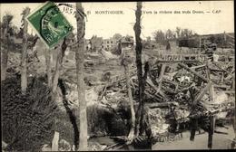 Cp Montdidier Somme, Vers La Riviere Des Trois Doms, Ruines, Vue Partielle Du Village - Autres Communes