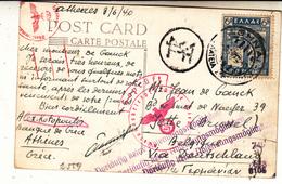 Grèce    Guerre 1940/45  Carte    Vers La Belgique    Censure - Storia Postale