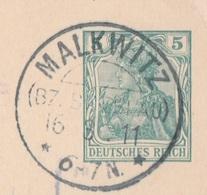 Deutsches Reich Karte Mit Tagesstempel Malkwitz Bz Breslau 1911 KOS Stempel Schlesien - Covers & Documents
