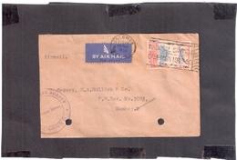 CEYLON TO INDIA 1950 ADVT CANCELLATION AIRCRAFT SRI LANKA COVER 1744 PUNCH HOLE - Ceylon (...-1947)