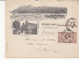 France   Vers La Belgique    1921  Enveloppe   Avec Pub évian Les  Sources - 1900-27 Merson