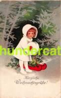 CPA CHROMOLITHO ELLEN CLAPSADDLE ENFANT NOEL CHRISTMAS GIRL ( PLI D'ANGLE - CORNER CREASE ) - Dessins D'enfants