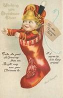 HEUREUX NOËL - JOYEUX NOËL  - WHISING YOU CHRISTMAS CHEER -  CHAUSSON De  NOËL - CPA GAUFFREE ILLUSTRATEUR SIGNE - Noël