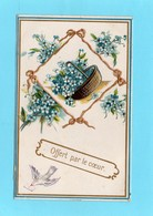 PANIER , FANTAISIES GAUFREES, Offert Par Le Coeur, Panier De Fleurs,Couleurs, Scan Recto-Verso 1906 - Phantasie