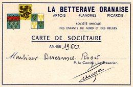 CARTE De SOCIETAIRE - LA BETTERAVE ORANAISE 1960 - Vecchi Documenti