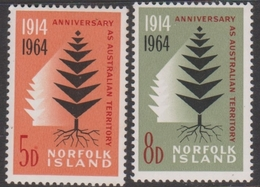 Norfolk Island ASC 57-58 1964 50th Anniversary Of Australian Territory, Mint Never Hinged - Unclassified