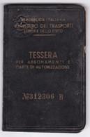 FERROVIA - MINISTERO TRASPORTI - FERROVIE Dello STATO - TESSERA - 1950 - Europa