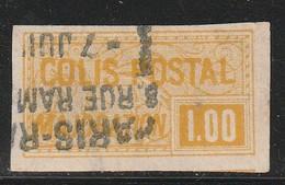 FRANCE - COLIS POSTAUX - N°27 Obl (1918-20) 1f Jaune NON DENTELE - - Oblitérés