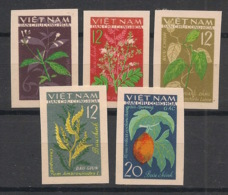 North Vietnam - 1963 - N°Yv. 349 à 353 - Plantes Médicinales - Non Dentelé / Imperf. - Neuf Luxe ** / MNH / Postfrisch - Piante Medicinali