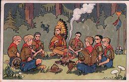 Scoutisme, Autour Du Feu, Illustrateur A. Kow, Litho (1024) - Padvinderij