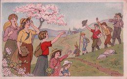 Scoutisme Et Jeunesse, Sortie En Campagne, Illustrateur Curtat, Litho (29.5.19) - Padvinderij