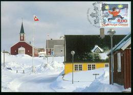 Mk Greenland Maximum Card 1995 MiNr 279 | Christmas, Boy Running With Lamps - Cartes-Maximum (CM)
