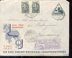 Luchtpost - Jamboree Nederlands Indië 1937 DC3 - Den Helder - Poststempel